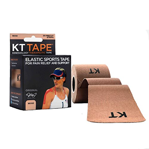 - KT Tape Original Cotton Elastic Kinesiology Therapeutic Sports Tape, 20 Pre cut 10 inch Strips, Beige