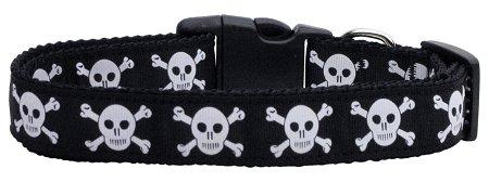 Mirage Pet Products Skulls Nylon Ribbon Dog Collar, Medium