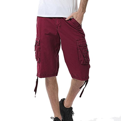 Aurorax Men's Cargo Shorts Pant, Casual Stretch Sports Fitness Gym Pants with Pocket (Wine Red, 34) ()