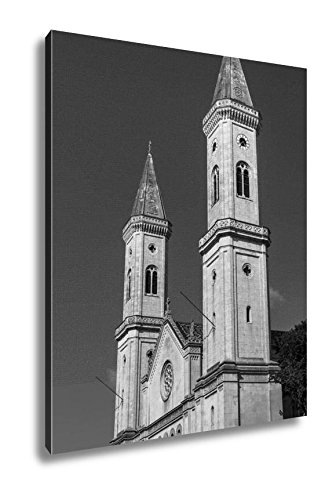 Ashley Canvas Catholic Parish And University Church Ludwigskirche In Munich G, Home Office, Ready to Hang, Black/White 25x20, AG6544603 by Ashley Canvas