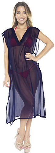 La Leela kimono de la gasa de la ropa de playa del traje de ba�o del traje de ba�o del bikini de la blusa de las mujeres cubrir la marina de guerra Bleu