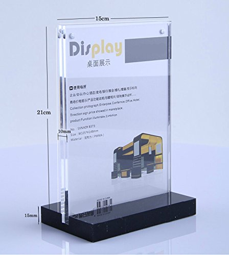 6x8 Inches Acrylic Magnetic Desktop Display Rack Sign Holder Menu Holder Billboards Exhibition Stand Size by B&NN (Image #1)