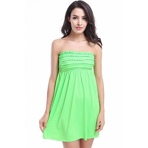 SHISHANG Señoras de la falda de la playa de Europa y los Estados Unidos fue el verano delgada vestido nuevo playa de la falda fresco holiday playa pétalo multicolor , white Green