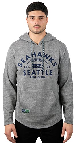 (Icer Brands NFL Seattle Seahawks Men's Fleece Hoodie Pullover Sweatshirt Vintage Logo, Large, Gray)