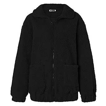 BOZEVON Women's Lady Soft Popular Winter Long Sleeve Thick Open Stitch Coat Zip Cardigan,Black,US L=Tag XL