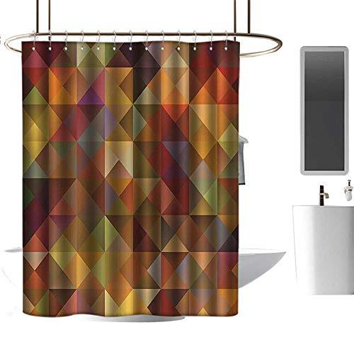 Bathroom Shower Curtain Tarpaulin Colorful Decor,Abstract Art Grid Mosaic Geometric Creative Image Triangle Print,Brown and Marigold Punch-Free Curtain W55 xH84 - Punch Marigold