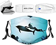 Face Mask with 2 Filter and Nose Wire, Adjustable Ear Loops,3 Layers Scuba Diver Girl Swimming with Dolphin Si
