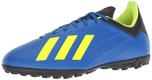 adidas Men's X Tango 18.4 Turf Soccer Shoe, Football Blue/Solar Yellow/Black, 9.5 M US