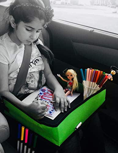 Batalee Kids Travel Tray for Car Toddlers Snack Play Activity Tray Portable Lap Tray with Mesh Pockets for Cars Seat, Strollers, Planes - Quality Material Tall Side Walls - Perfect Car Organizer by Batalee (Image #8)
