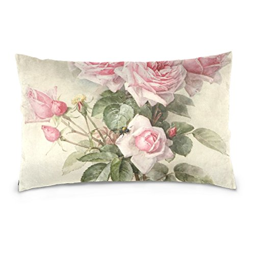 Square Decorative Throw Pillow Case Cushion Cover,Vintage Shabby Chic Pink Rose Floral,Supersoft Pillowcase