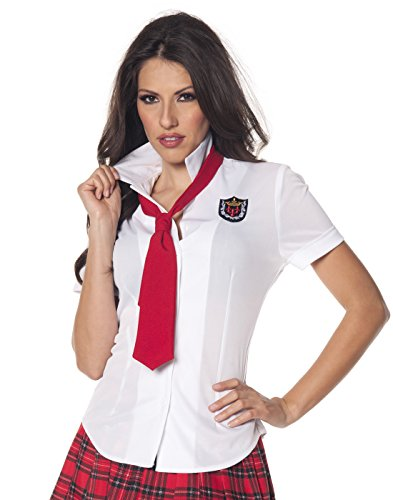 Underwraps Women's School Girl Fitted Shirt, White/Red, -