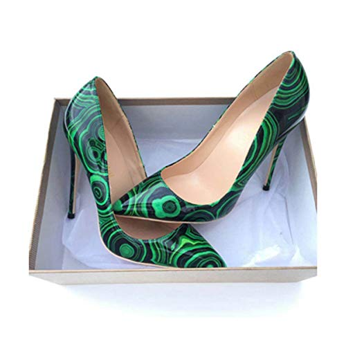 2018 Green Color Pointed Toe Lady Pumps pu Leather Shallow Woman High-Heeled Pumps Sexy Slip-on Wedding Women Shoes Party Shoes as pic 11 ()