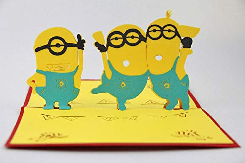 Handmade 3D pop up birthday card Minions greeting]()