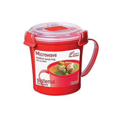 Sistema Microwave Collection Soup Mug 22.1 oz, Red (Handle With Oz Mugs Soup 20)