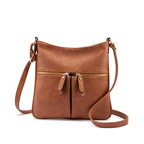 omen Faux Leather Shoulder Bag with Adjustable Long Strap Brown ()
