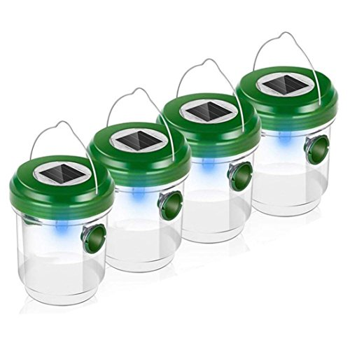 Pausseo 4Pcs Wasp Trap for Outdoors,LED Solar Powered Trap W