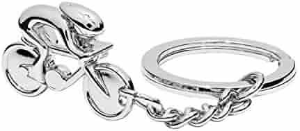 Llavero de bicicleta y corredor, color plateado, acero cromado