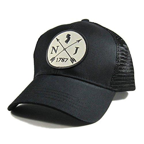 Homeland Tees Men's New Jersey Arrow Patch All Black Trucker (New Jersey Trucker Hat)