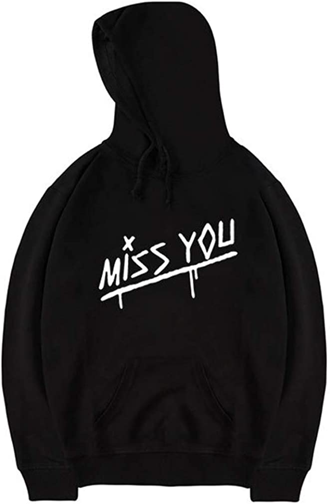 Leslady Unisex Sudaderas con Capucha Pull-Over Cool Miss You Sudadera para Hombre Mujer