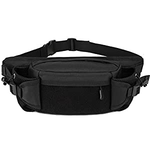 Tactical Waist Pack Auzilar Portable Belt Bag Gadget Fanny Pack Outdoor Hiking Travel Large Army Waist Bag Military Waist Pack for Daily Life Cycling Camping Hiking Hunting Fishing Shopping (Black)