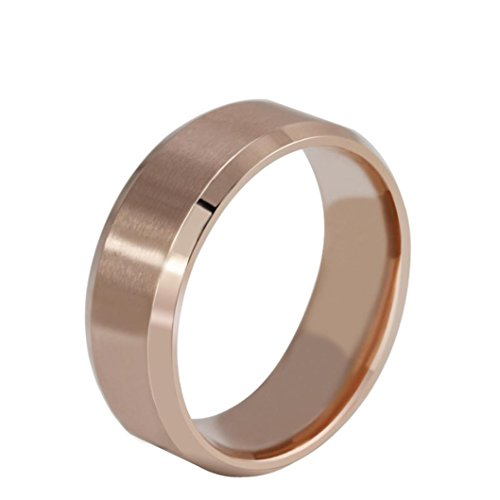 Napoo Men Women Simple Stainless Steel Ring Band Titanium Size 7 to 11 (Rose Gold, 9)