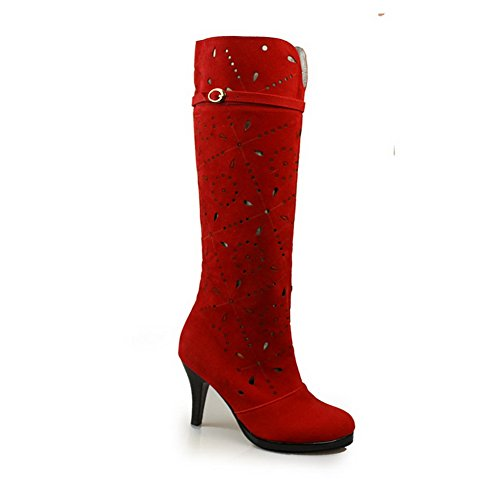 Pattern Out Girls Boots Hollow AdeeSu Leopard Red Leather Stiletto Imitated wTqIxf