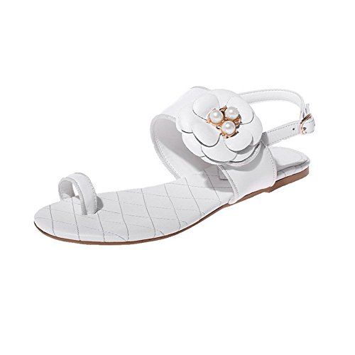 AllhqFashion Womens Cow Leather Low Heels Open Toe Solid Buckle Sandals White