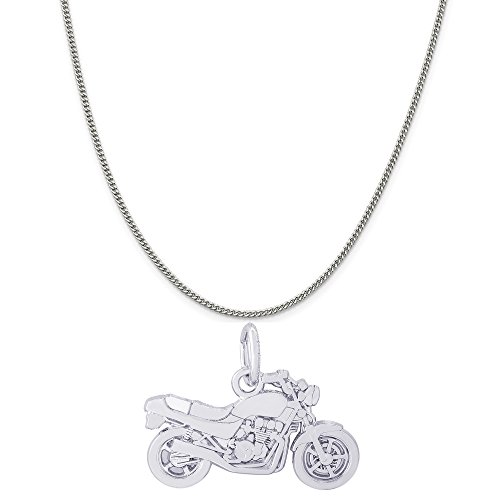 (Rembrandt Charms 14K White Gold Motorcycle Charm on a 14K White Gold Curb Chain Necklace, 18