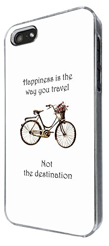 641 - Vintage Bicycle Happiness is the way you travel Design iphone SE 5 5S Hülle Fashion Trend Case Back Cover Metall und Kunststoff