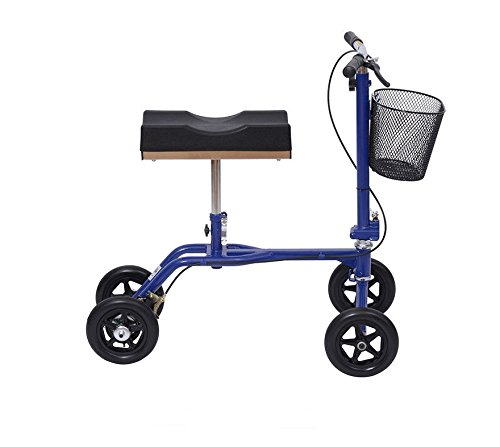 Eight24hours New Steerable Foldable Knee Walker Scooter Turning Brake Basket Drive - Blue