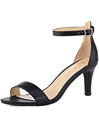 bcb0f0b1abc5 Women s Heeled Sandals Ankle Strap High Heels 7CM Open Toe Mid Heel Sandals  Bridal Party Shoes
