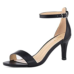 35d83592276 ZriEy Women s Heeled Sandals Ankle Strap High Heels 7CM Open Toe Mid Heel  Sandals Bridal Party Shoes