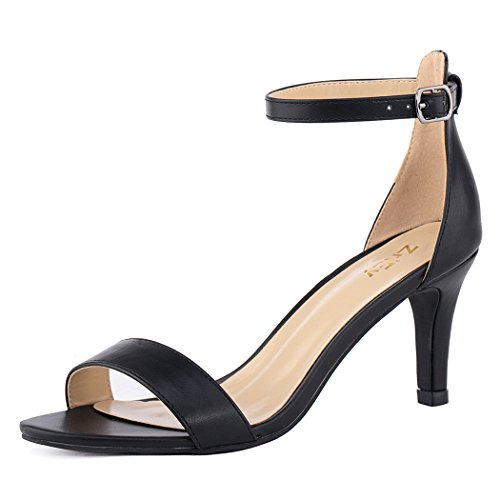 Ladies Black Leather Sandals Heels - ZriEy Women's Heeled Sandals Ankle Strap High Heels 7CM Open Toe Mid Heel Sandals Bridal Party Shoes Black Size 7.5