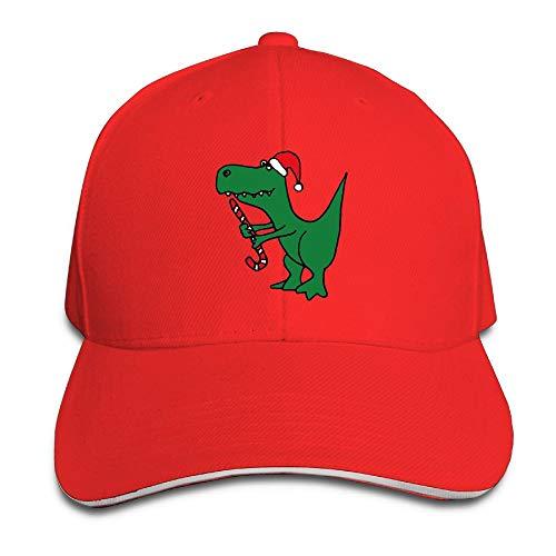 ONE-HEARTHR Adult Christmas Dinosaur Cotton Lightweight Adjustable Peaked Baseball Cap Sandwich Hat Men Women