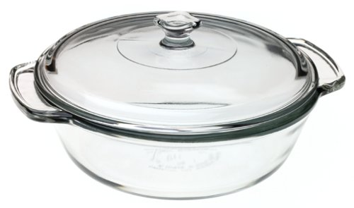 (Fire-King Crystal 2-Quart Covered Casserole Dish)