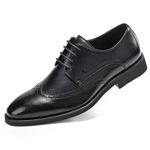 (Men's Derby Dress Shoes Classic Lace Up Wingtip Oxford Shoes Black 10.5)
