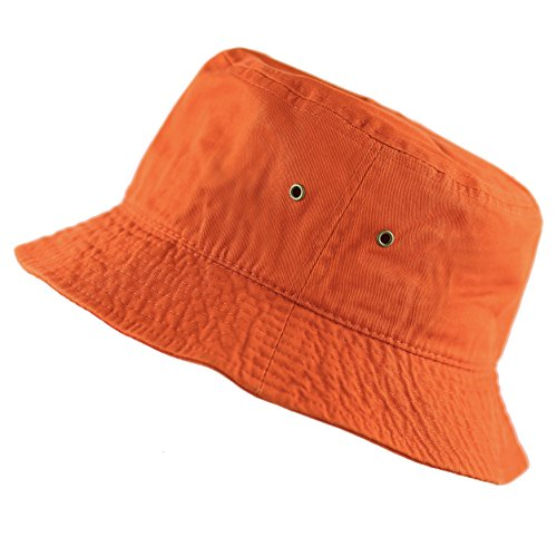 - The Hat Depot 300N Unisex 100% Cotton Packable Summer Travel Bucket Hat (L/XL, Orange)
