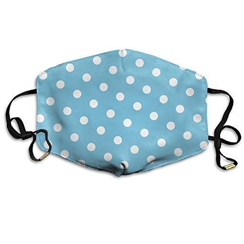 Stazary White Dots Blue Background Face Mouth Mask Unisex Polyester Comfy Anti Dust Masks