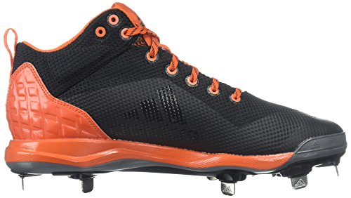 adidas Performance Herren PowerAlley 5 Mid Baseballschuh Kern Schwarz, Silber Met., Collegiate Orange