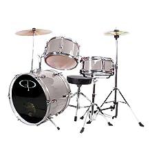GP Percussion GP50SV Complete Junior Drum Set, Silver, 3-Piece Set