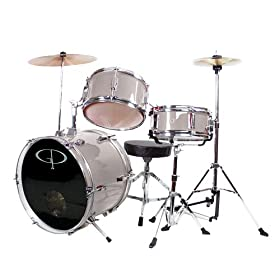 GP Percussion GP50SV Complete Junior Drum Set (Silver, 3-Piece Set) 10