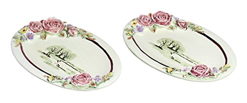 (Home Décor Display Exquisite Nature Rose Theme European Design Fruit/Food/Dinner Resin Plate Platter Dish, A Set of 2, White- 5.5