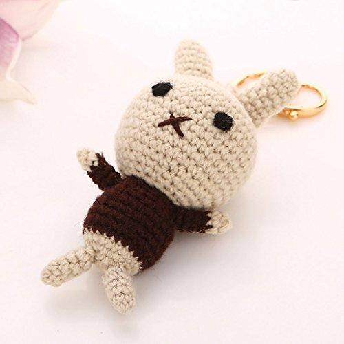 Korea Creative Wool Knit Cute Bunny Car Keychain Key Chain Ms. Bags Packages