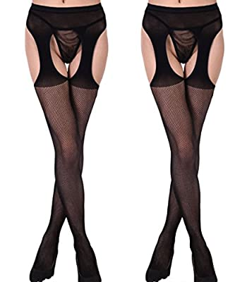 Buauty 2 Packs Lady Crotchless Fishnet Pantyhose Floral Lace tigh High Stockings