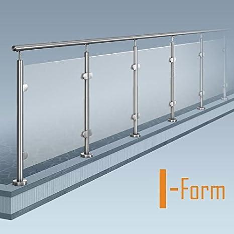 Ringhiera con pannelli di vetro a forma di I (senza angoli), kit per ...