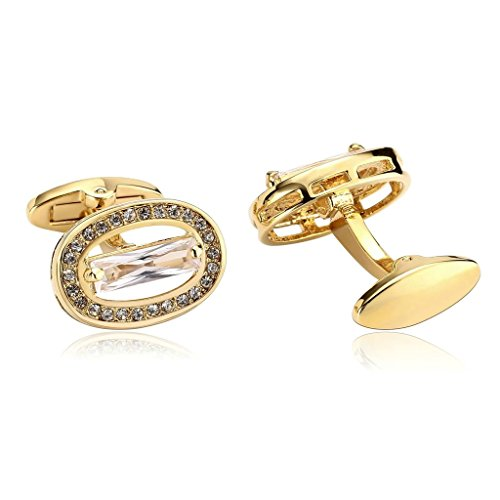 - KnSam Men Stainless Steel French Cufflinks Crystal Oval White Gold