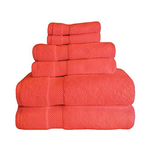 (Superior Zero Twist 100% Cotton Towel Set - 6-Piece Set, Extra Soft Bath Towels, Face Towels and Hand Towels, Long-Staple Cotton Towels, Coral)