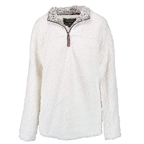True Grit Men's Frosty Tipped Pile 1/4 Zip Pullover, Ivory, S