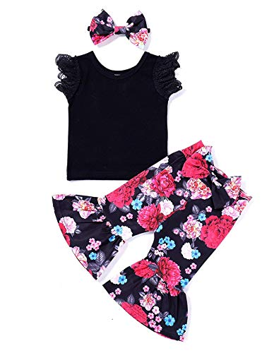 3Pcs Baby Girl Lace Heart Ruffles T-Shirt+Ruffle Flower Pants Bell Bottoms+Headband Summer Clothes Set (100/3-4T, Black+Flower)