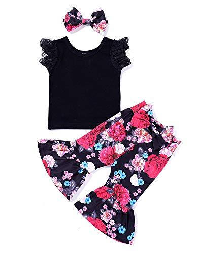 3Pcs Baby Girl Lace Heart Ruffles T-Shirt+Ruffle Flower Pants Bell Bottoms+Headband Summer Clothes Set (90/2-3T, Black+Flower) ()